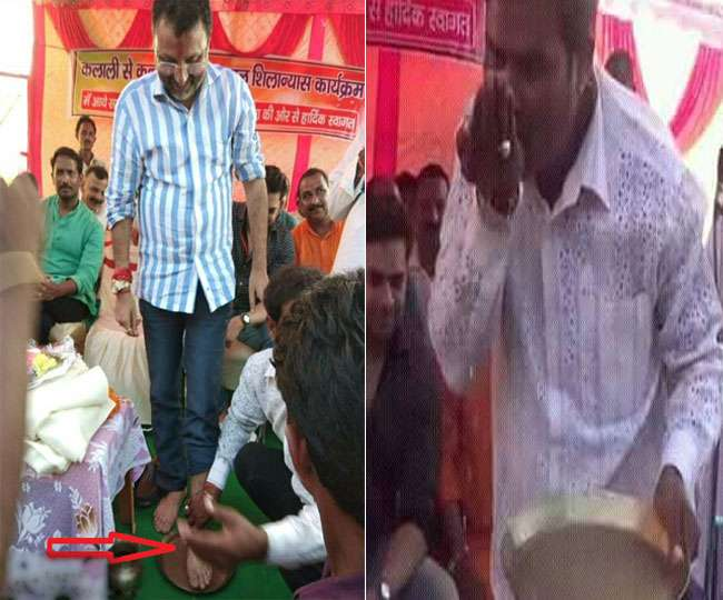 Bjp Mp Comes Under Fire After He Allows Worker Wash His Feet Drink Dirty Water