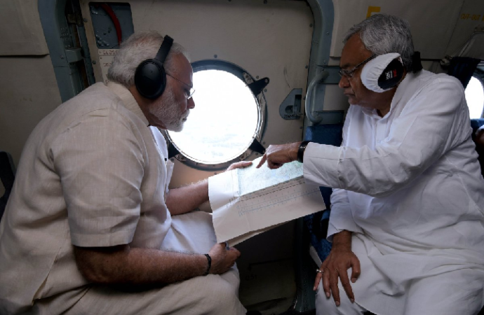 PM Modi conducts aerial survey of flooded Bihar, disappoints Biharis