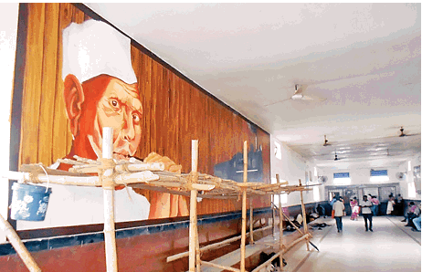 Dumraon station adorns wall with Bismillah's picture as a tribute to shehnai maestro