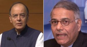 Yashwant Sinha hits back at Arun Jaitley's job application remark