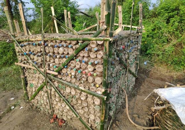 Bihar villagers building toilets with used plastic bottles to save environment
