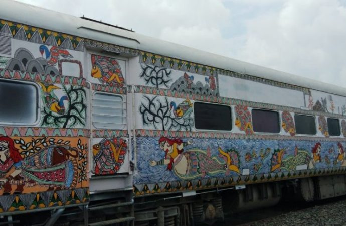 Bihar artists use train coaches as canvas to promote fading Mithila artwork