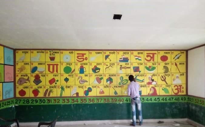 migrants, school painting, BIhar, schools
