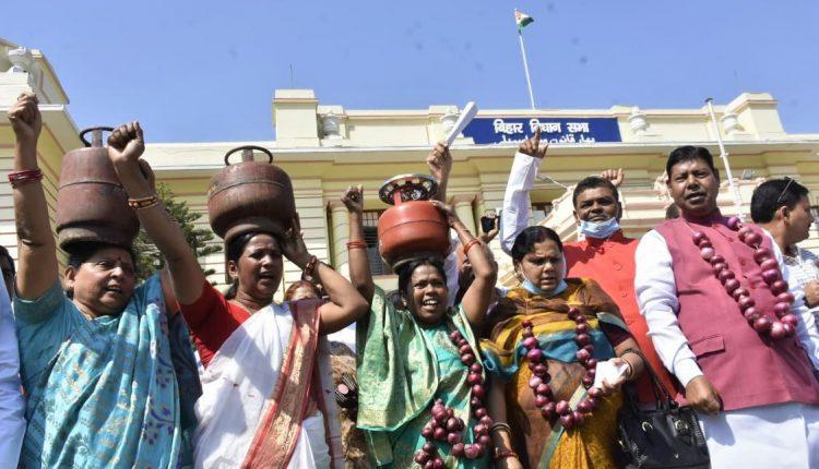 Opp protest, RJD, Bihar assembly, LPG protets, Onion garlands, Bihar, Bihar assembly